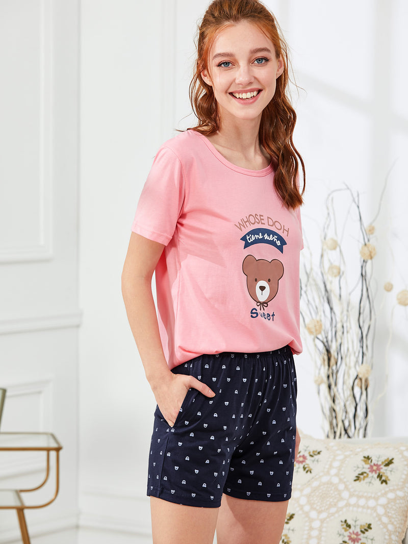 Bear Print Tee & Shorts PJ Set
