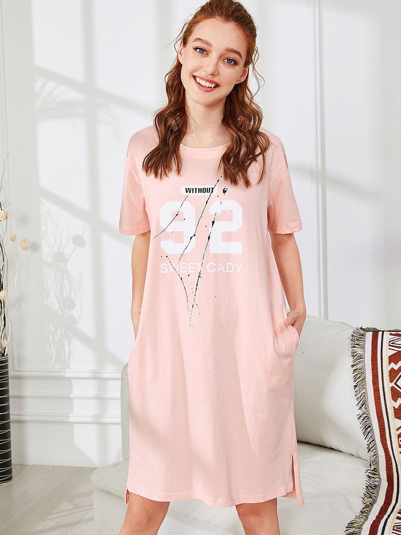 Cartoon Print Hidden Pocket High Low Nightdress