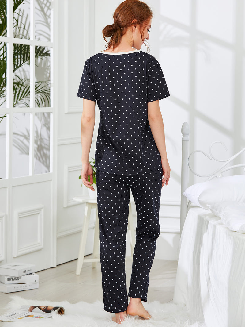 Bear & Dot Print Pajama Set