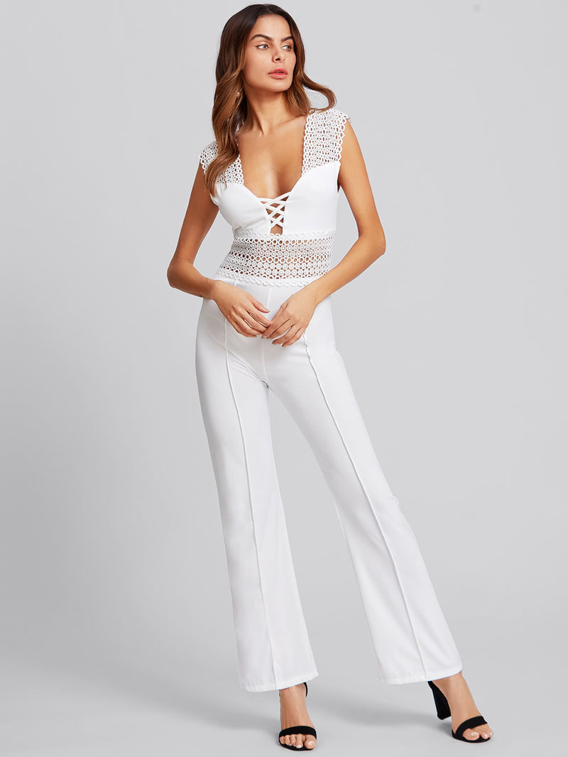 Circle Guipure Lace Panel Seam Detail Jumpsuit