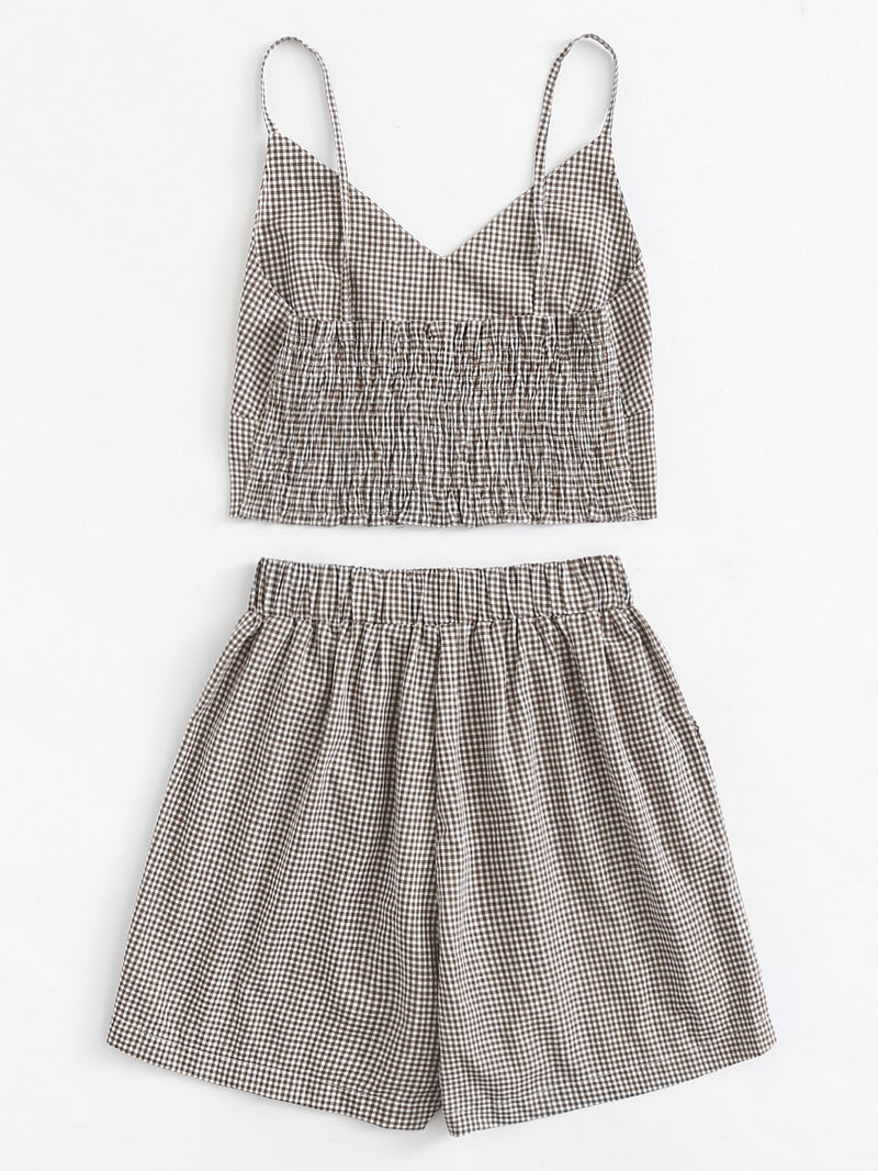 Checked Cami Top With Shorts