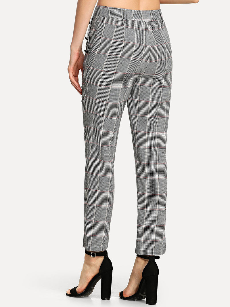 Button Detail Plaid Cigarette Pants