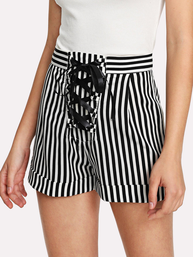 Contrast Stripe Ribbon Lace Up Shorts