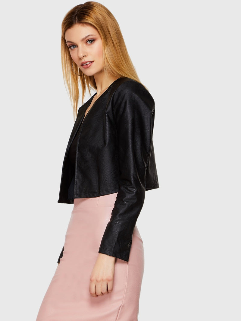Open Placket PU Jacket