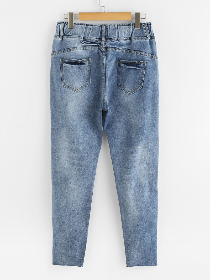 Bleach Wash Drawstring Waist Jeans
