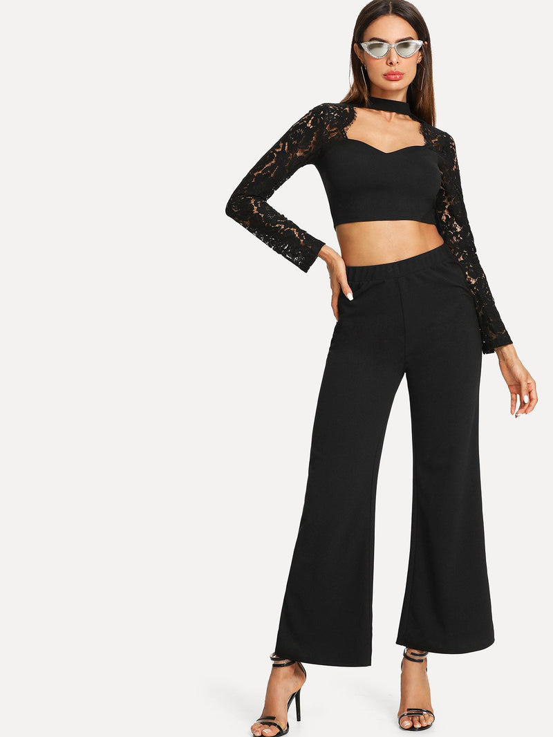 Choker Neck Lace Panel Crop Top & Wide Leg Pants Set