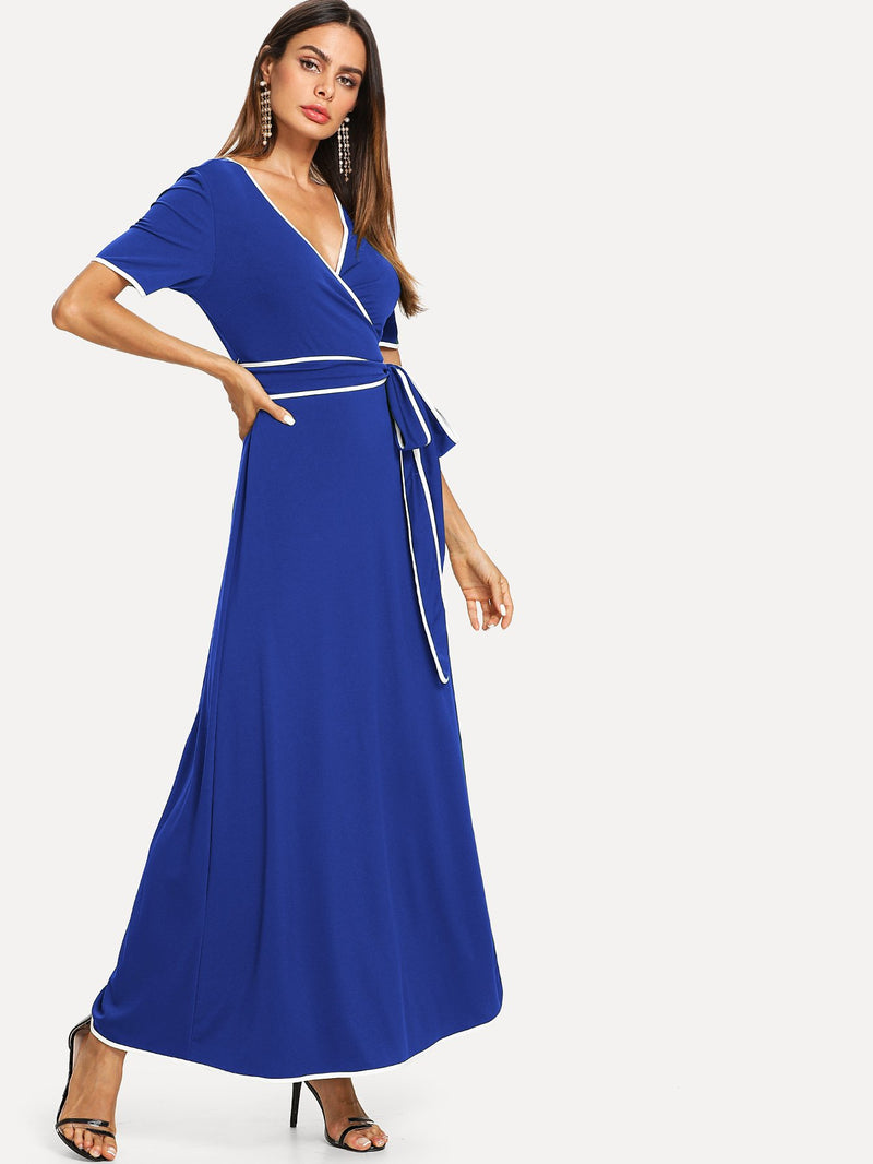 Contrast Binding Belted Wrap Dress