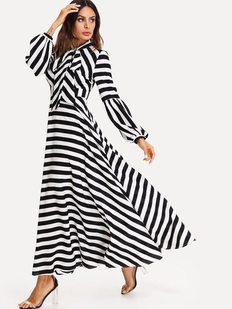 Bishop Sleeve Tied Neck Striped Flare Dress