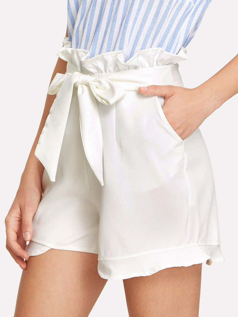 Belted Ruffle Shorts
