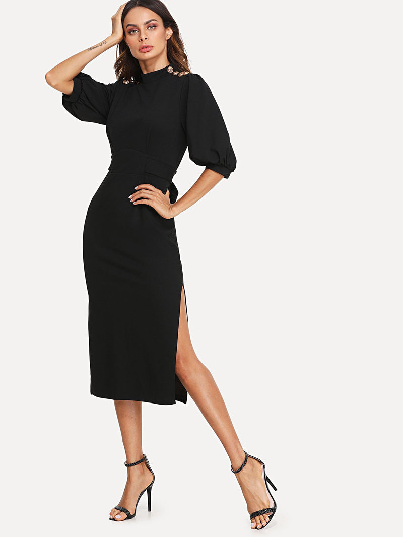 Button Detail Bishop Sleeve Dress