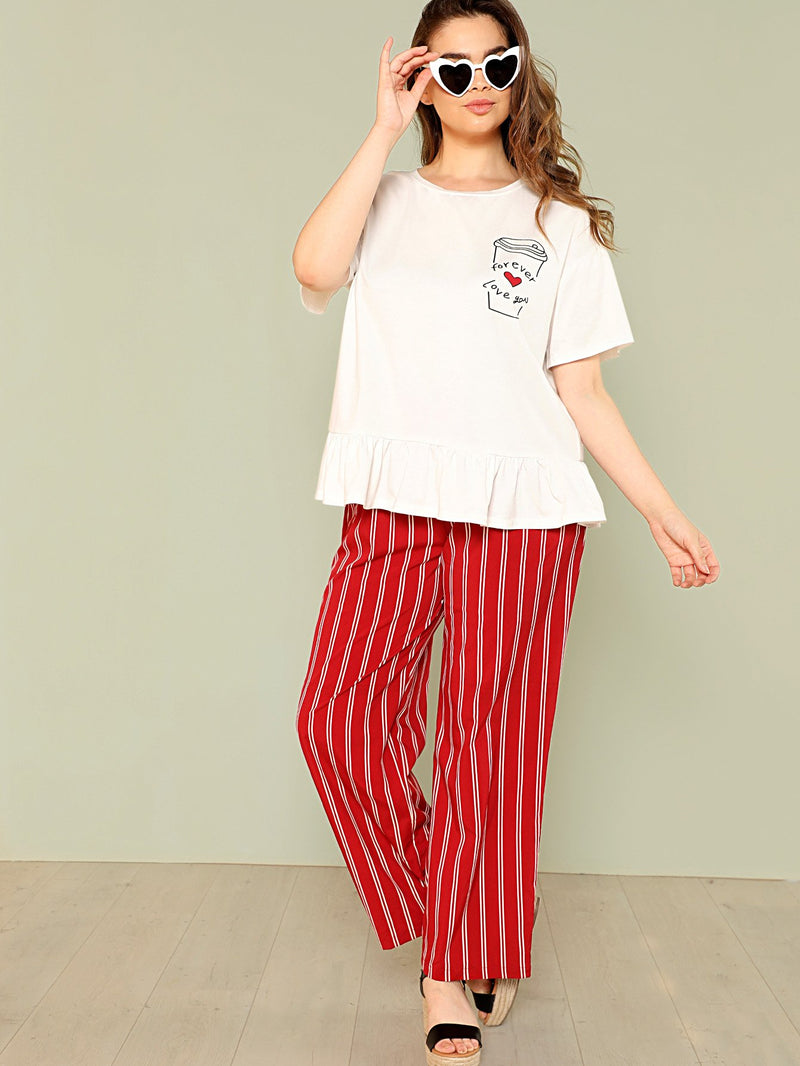 Ruffle Hem Top & Striped Pants PJ Set