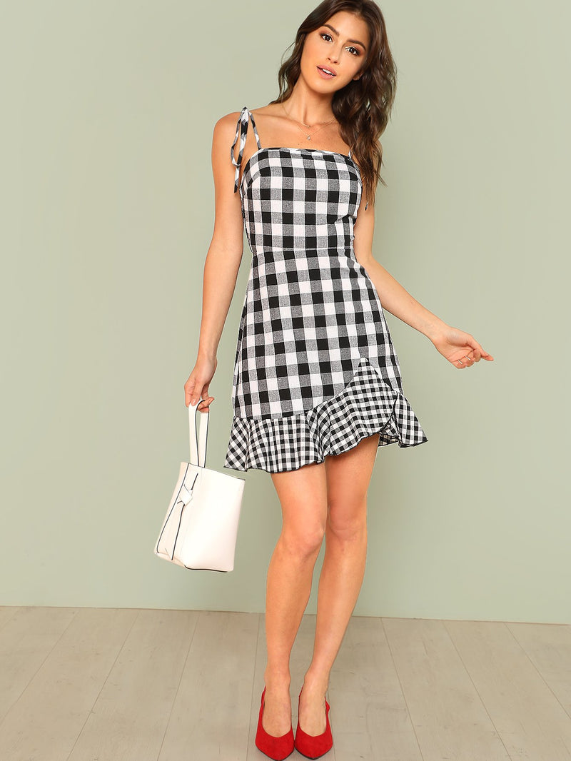 Asymmetrical Ruffle Hem Gingham Tied Cami Dress