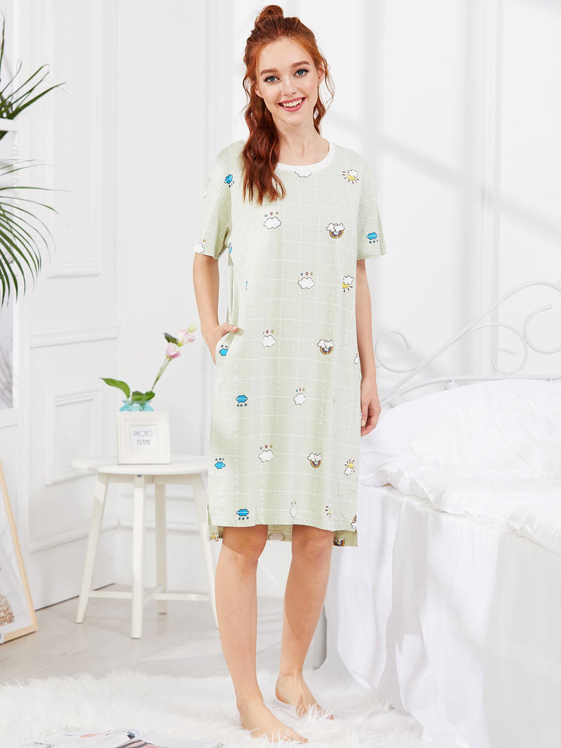 Cloud Print Hidden Pocket Plaid Nightdress
