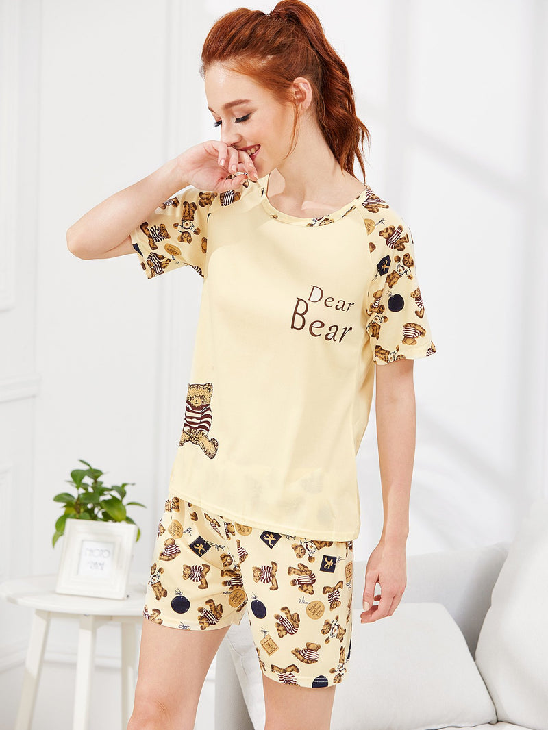 Bear Print Top & Shorts PJ Set