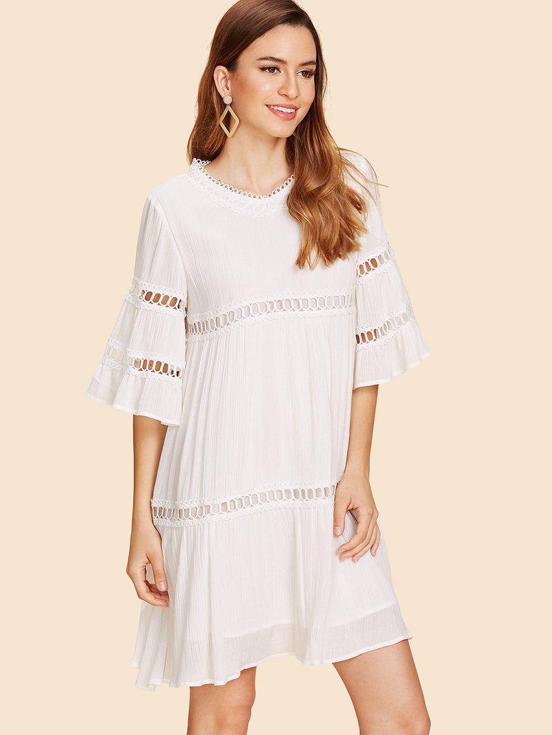 Bell Sleeve Circle Lace Detail Dress