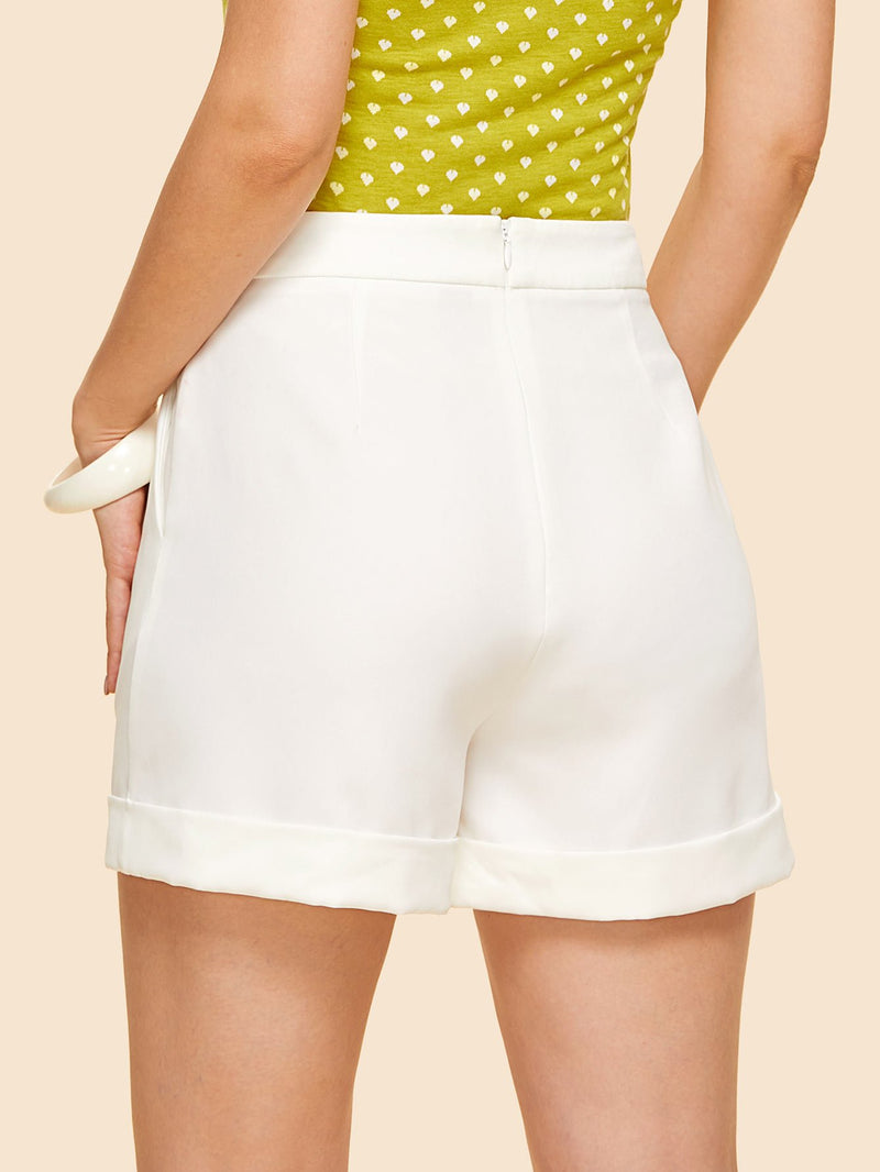 Bow Front Cuffed Tailored Shorts