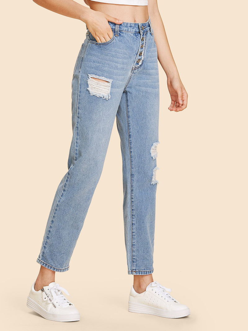 Button Fly Shredded Jeans