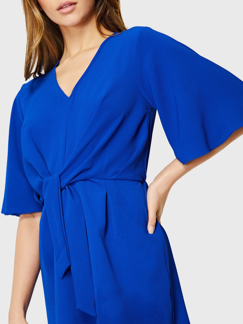 Bell Sleeve Knotted Textured Dress