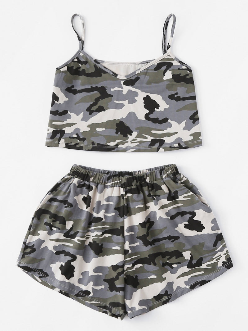 Camouflage V Neckline Cami Top With Shorts