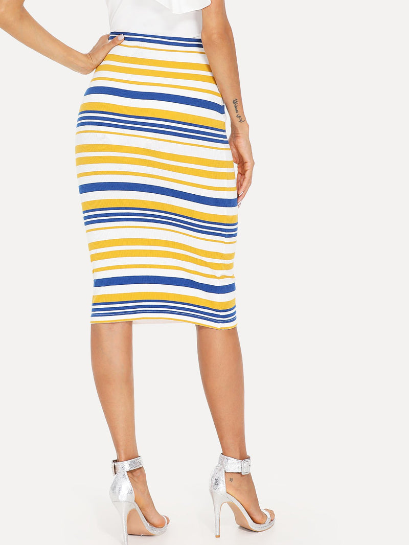 Colorblock Striped Print Bodycon Skirt