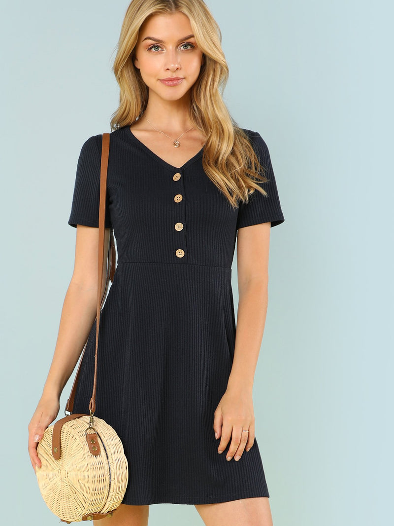 Button Up Ribbed Knit Dress