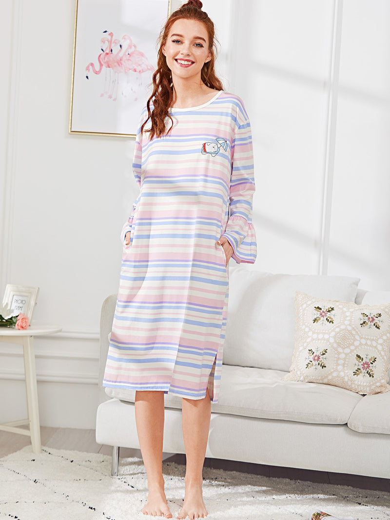 Bear Print Striped Dress