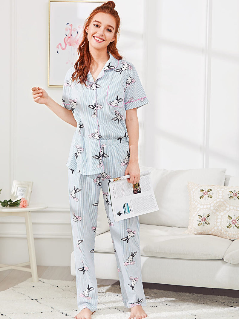 Contrast Binding Rabbit Print Pajama Set