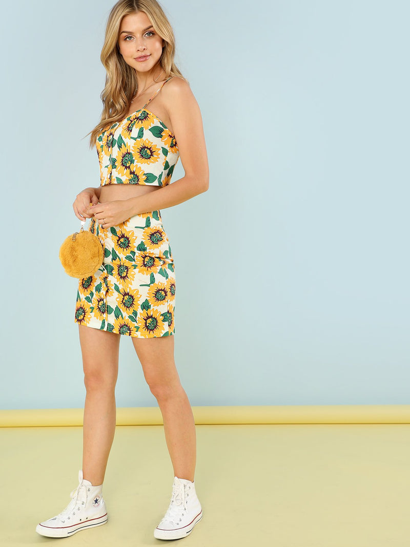 Button Through Sunflower Cami & Skirt Set