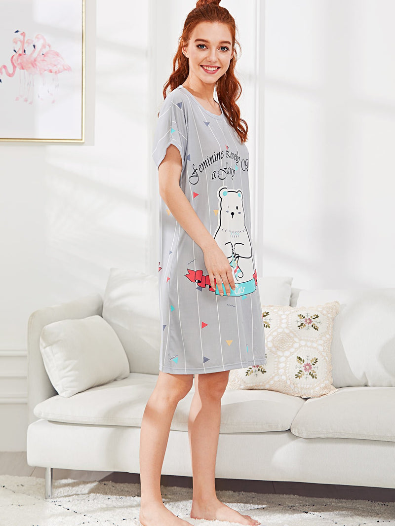 Bear & Letter Print Night Dress