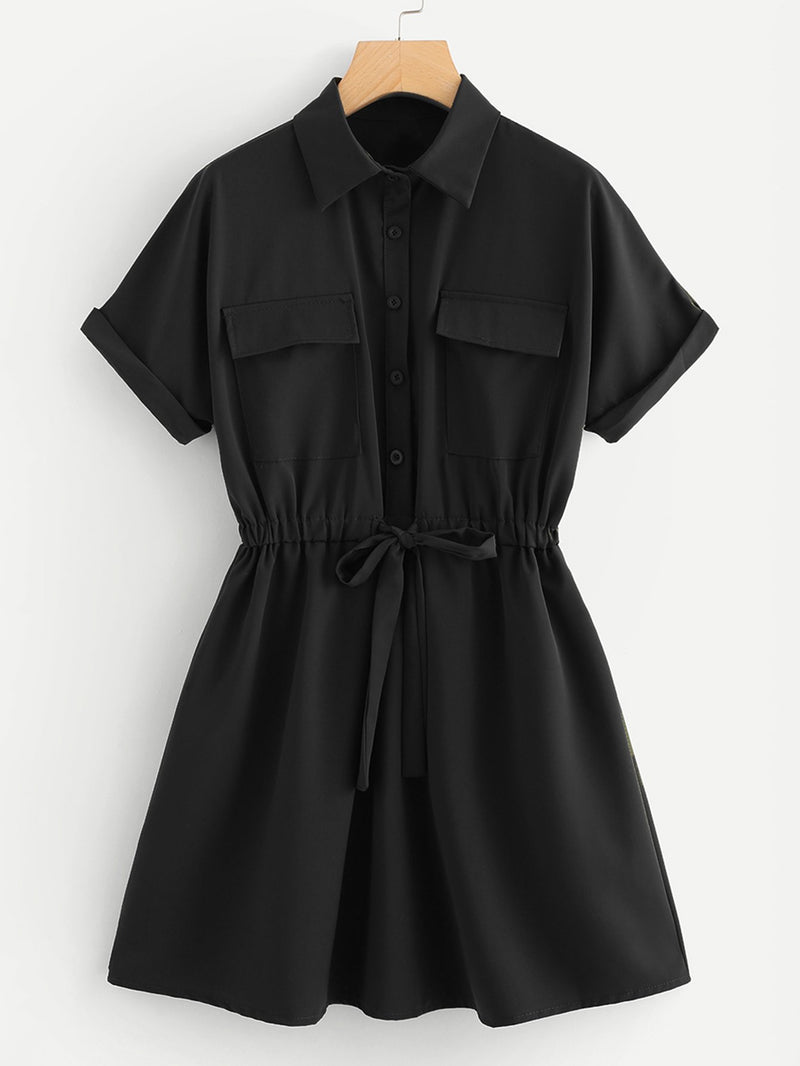 Drawstring Waist Shirt Dress