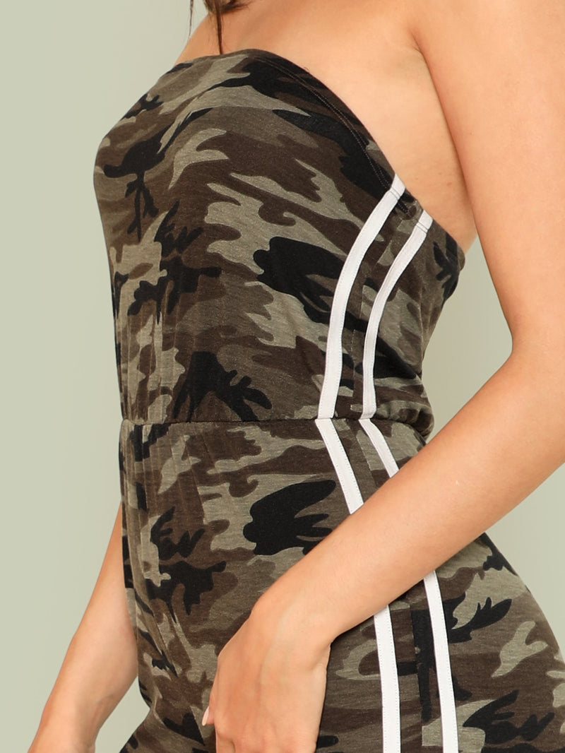 Camo Print Contrast Striped Side Strapless Jumpsuit