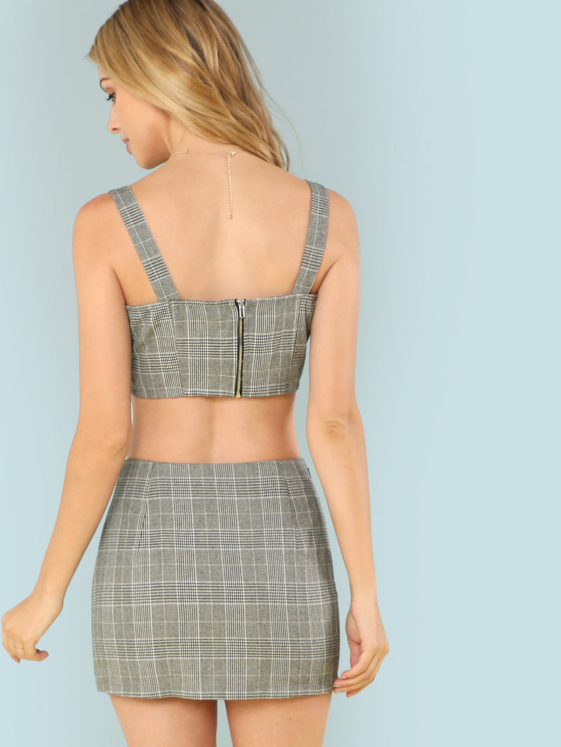 Contrast Panel Plaid Crop Top & Skirt Set