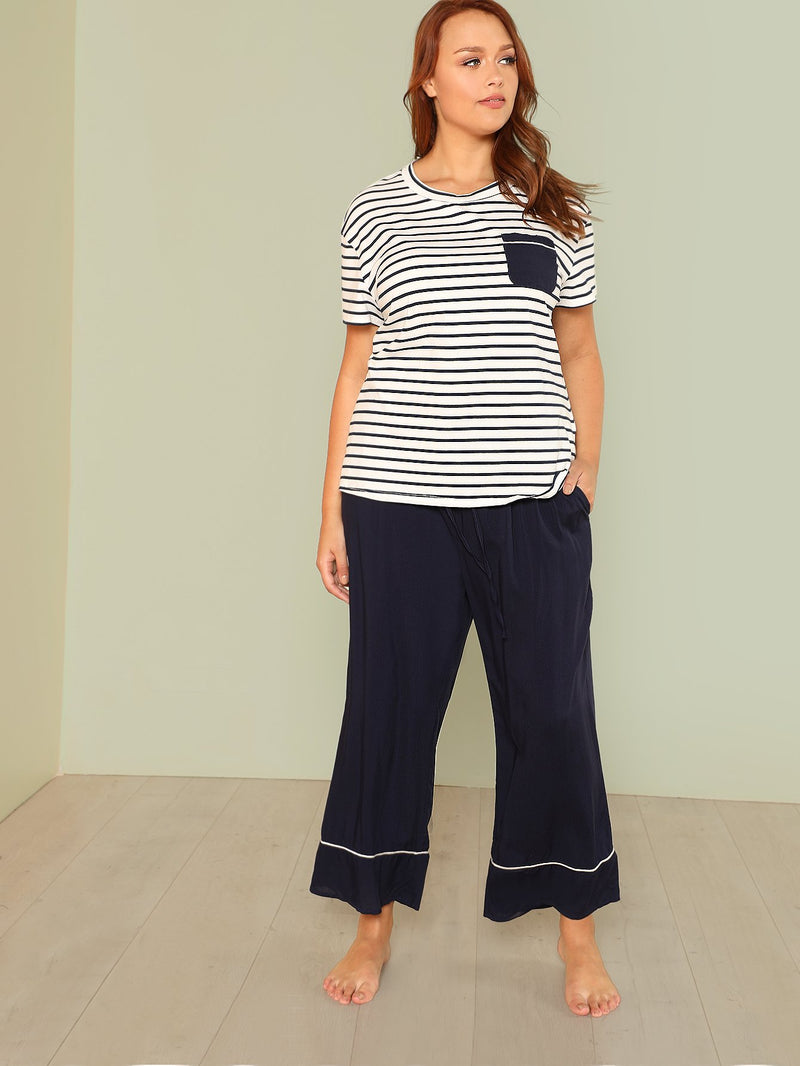 Contrast Tipping Striped Top And Pants PJ Set