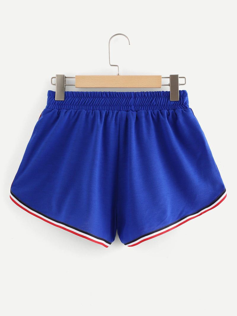 Color Block Drawstring Waist Shorts