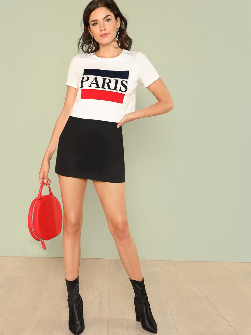 Color Block Letter Print Tee PUSSHE