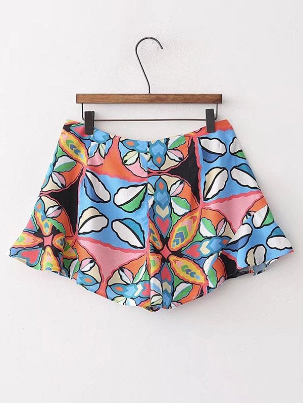 All Over Printed Ruffle Hem Shorts