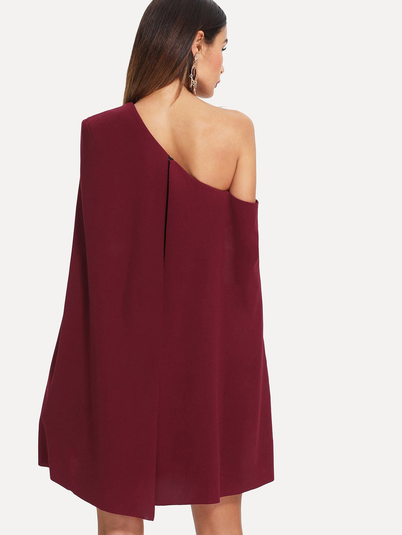 Asymmetrical Neck Cape Sleeve Dress
