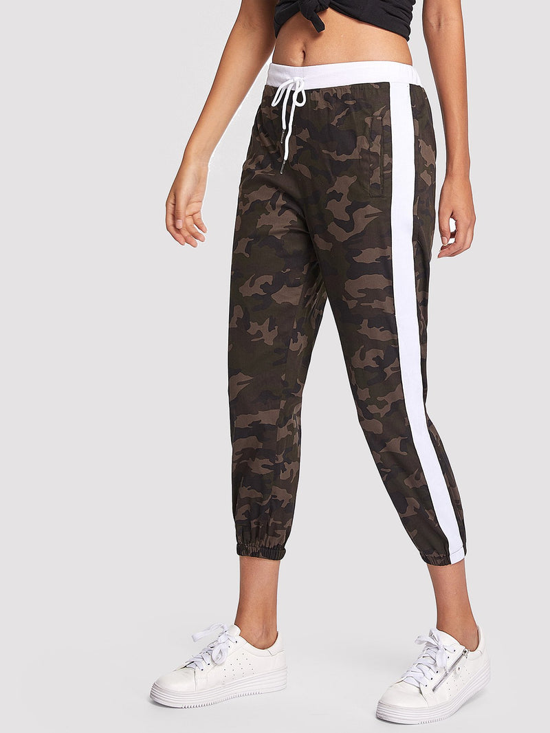 Camouflage Striped Tape Side Pants