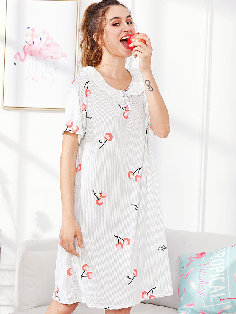 Cherry Print Striped Night Dress