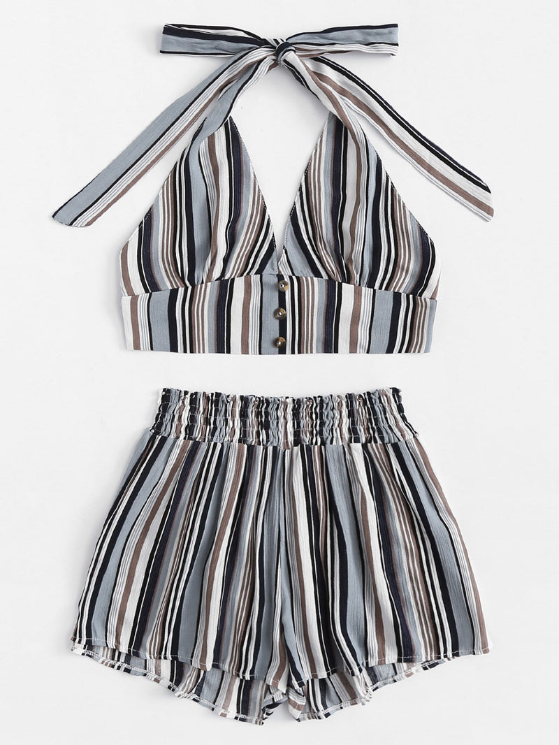 Button Detail Striped Halter Top With Shorts