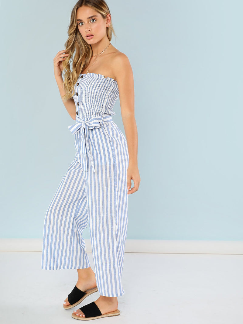 Button Accent Shirred Panel Striped Strapless Jumpsuit