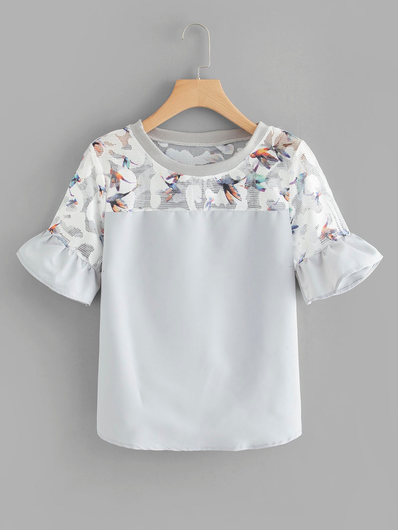 Bird Print Fluted Sleeve Top