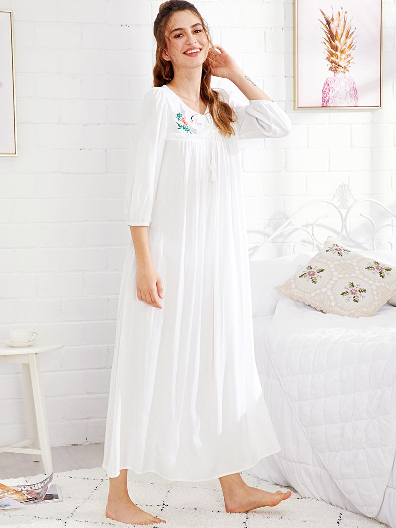 Embroidery Front Tassel Tied Frilled Night Dress