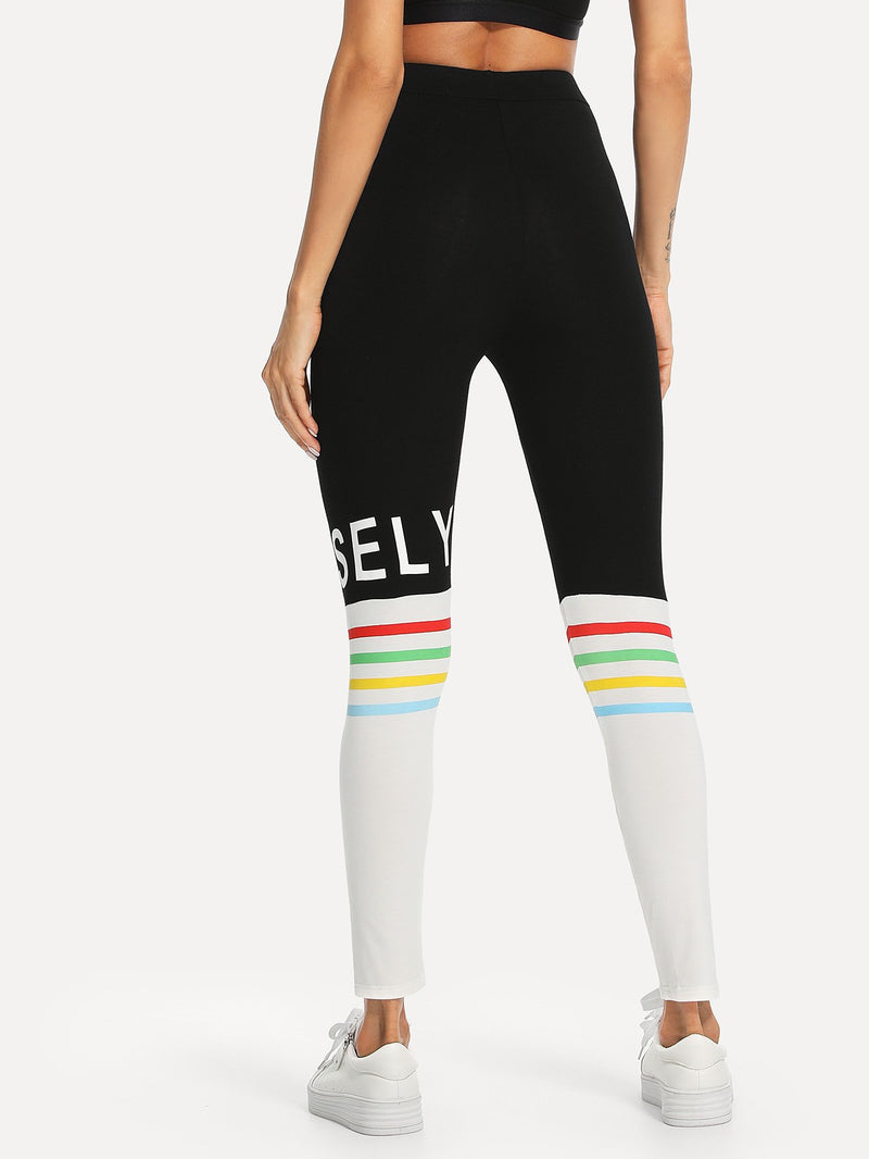 Color Block Lettering and Stripe Leggings