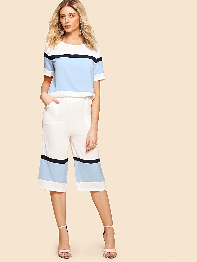 Color Block Top & Wide Leg Pants