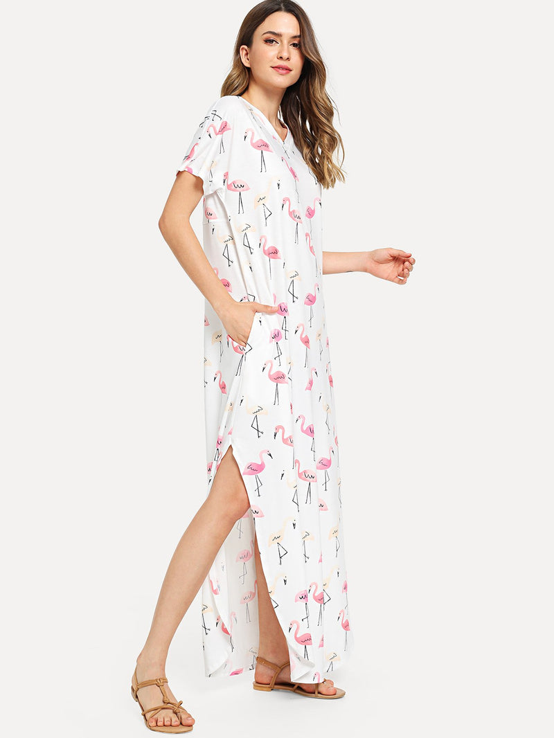 Allover Flamingo Print Pocket Side Curved Hem Dress