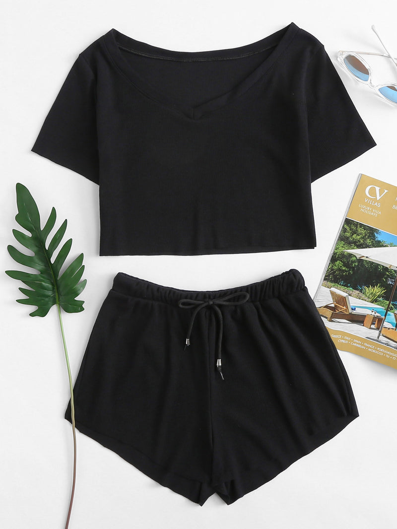 Boat Neck Crop Tee With Drawstring Waist Shorts