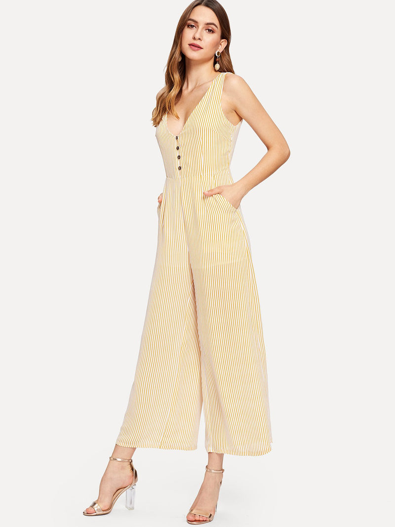 Button Front Striped Wide Leg Jumpsuit