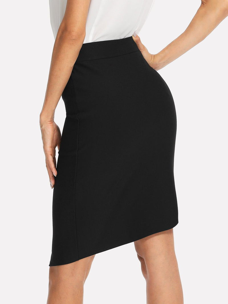 Button Front Asymmetrical Hem Skirt