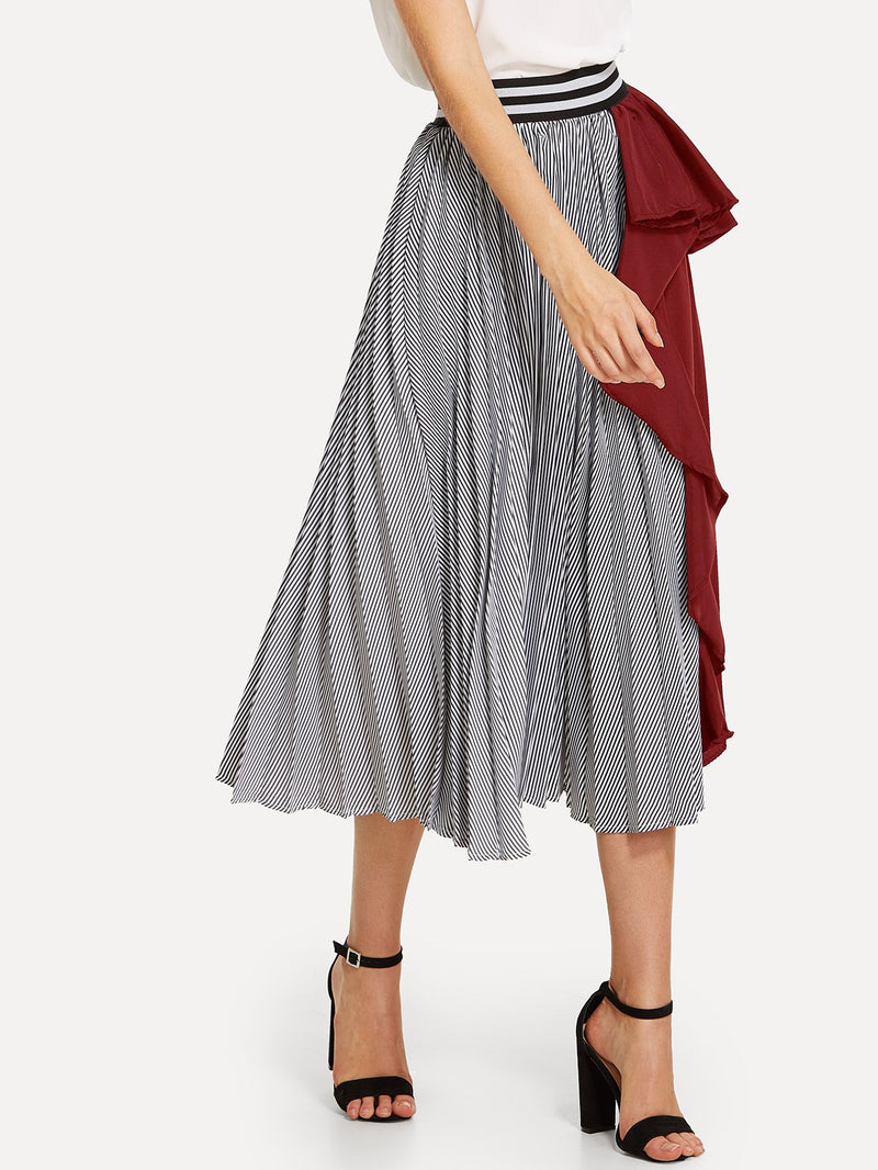 Contrast Striped Ruffle Pleated Skirt